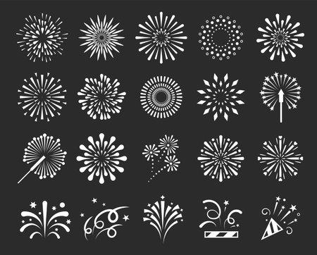 Vector fireworks or set of isolated salute, splash Vettoriali