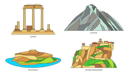 Set of signs for Greece or Greek natural monuments Vettoriali