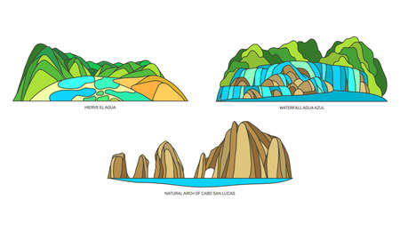 Set of vector signs of Mexican landscapes