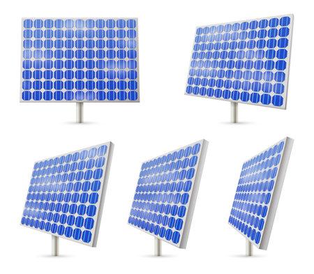 Vector solar panel set, renewable energy resource Vettoriali