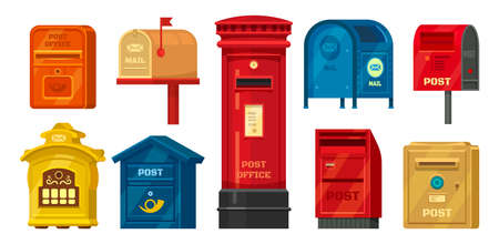 Set of isolated retro mailbox or vintage post box