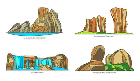 Thai or Thailand vector signs of natural monuments Vettoriali