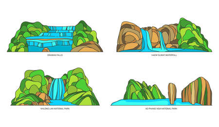 Isolated vector Thailand, asian natural landscapes