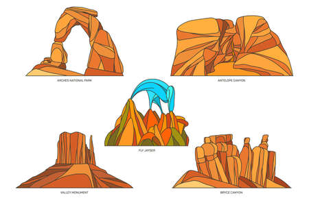 Flat vector signs of USA or US nature landscapes Vettoriali