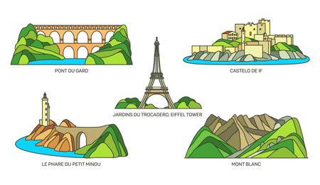 Set of France travel landmarks, icon set