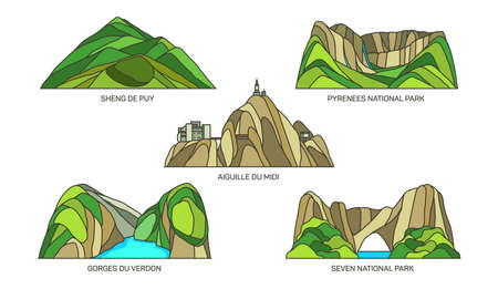 Set of France landmarks, landscape scenery, parks