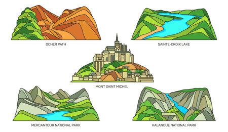 Set of France landmark, natural landscape, parks