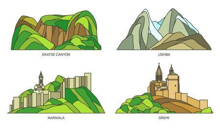 Set of Georgia landmark, Tbilisi travel set 向量圖像