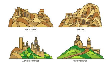 Set of Georgia travel landmarks or sightseeing 向量圖像