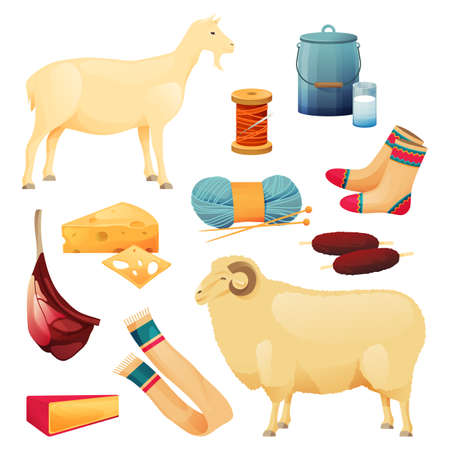 Goat and sheep products, food, dairy and textile 向量圖像