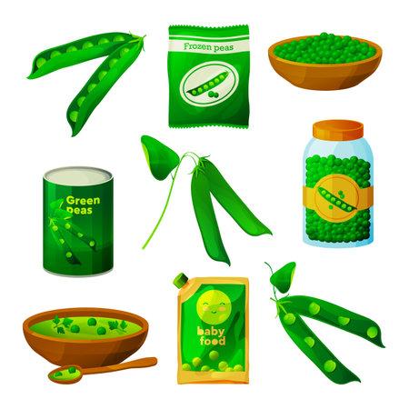 Set of Green peas food products or ingredients