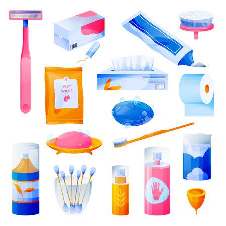 Personal care, hygiene, bathroom female items set