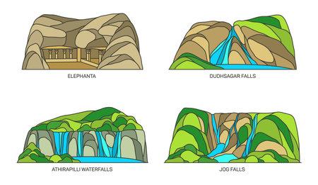 India landmarks, caves and waterfalls, Kerala, Goa 向量圖像