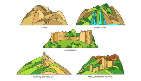 Set of Israel travel landmarks or landscape
