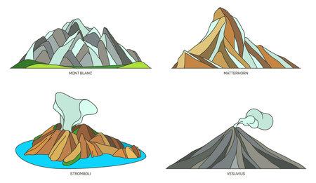 Set of Italy landmarks or travel nature landscapes 向量圖像