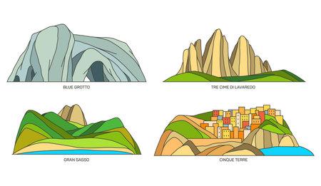Set of Italy landmarks or travel landscape