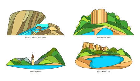 Set of Italy travel landmarks or landscapes