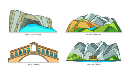 Set of Italy travel landmarks, nature landscape 向量圖像