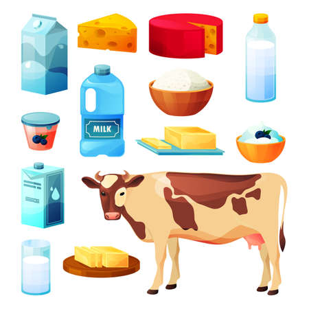Dairy milk, cattle farm food products, flat icons