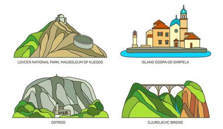 Set of Montenegro travel landmark or landscape