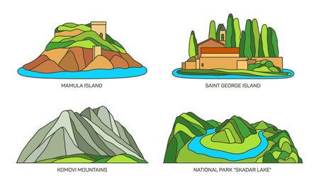 Set of Montenegro travel landmarks or landscapes 向量圖像