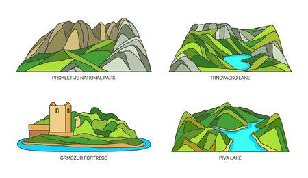 Set of Montenegro travel landmarks, national parks