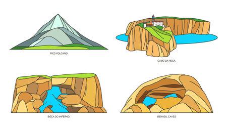Set of Portugal travel landmark nature landscape 向量圖像