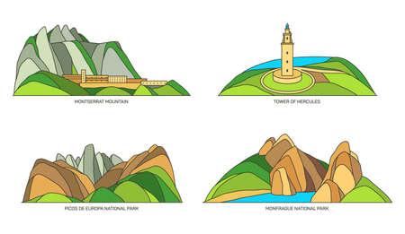 Set of Spain travel landmarks or landscapes