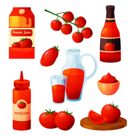 Set of tomato food products or ingredients