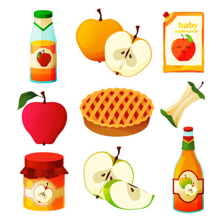 Apple food, fruit products, desserts sweets, juice