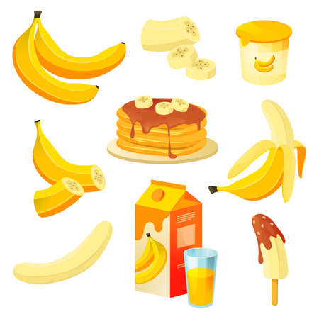 Banana food, fruit products, dessert juice, cake