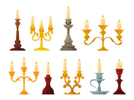 Set of candle holders and candelabra lights 向量圖像