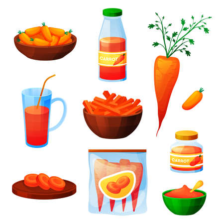 Carrot food, vegetable products, juice and eating