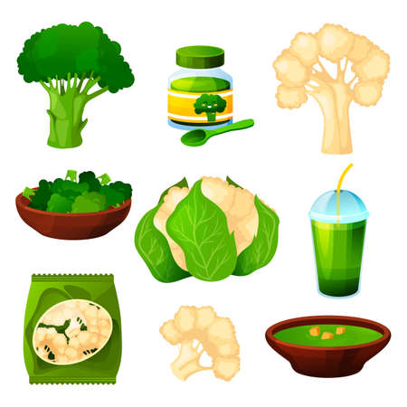 Set of cauliflower and broccoli, vegetable product
