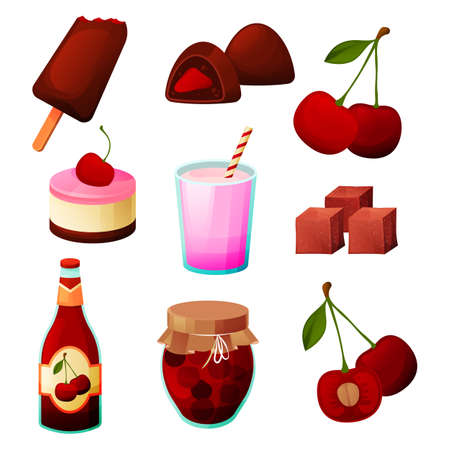 Cherry food, fruit products, dessert sweets, juice