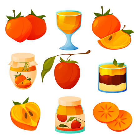 Persimmon food, kaki fruit products and desserts
