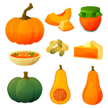 Set of pumpkin icons, flat vegetable products