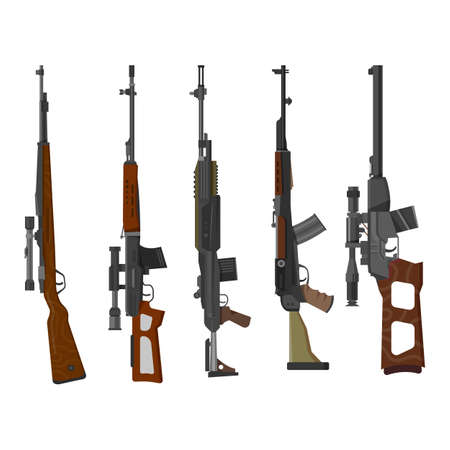 Set of rifle guns, military and hunting weapon 向量圖像
