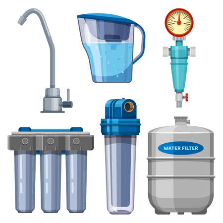 Set of water filter icons, water filtration system 向量圖像