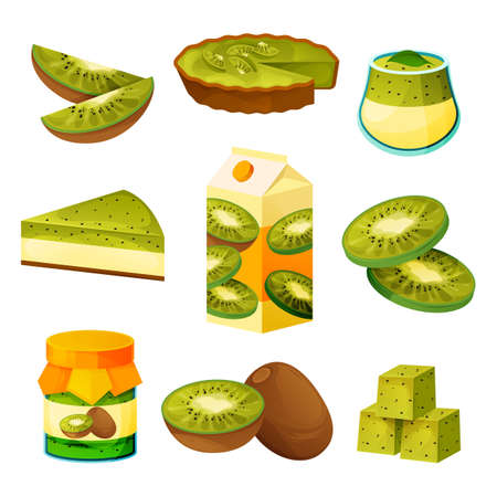 Food from kiwi, fruit drinks and sweet products