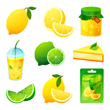 Food from lemon and lime fruits, drinks and sweets 向量圖像