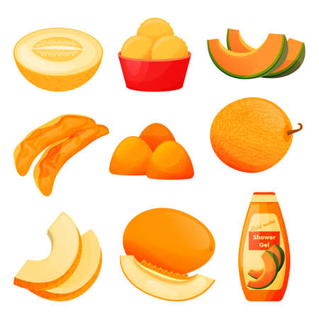 Food from melon fruit, sweet products, cosmetics