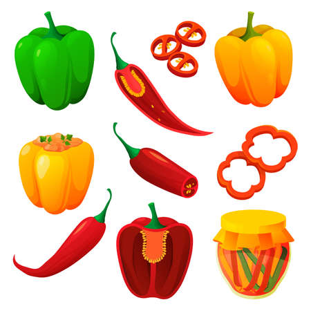 Set of food from pepper, spicy vegetable products 向量圖像