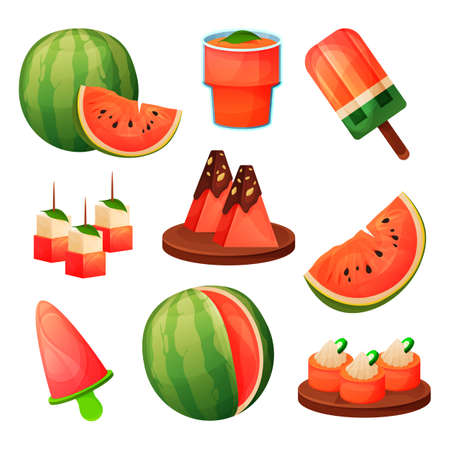 Food from watermelon, fruit sweet products, drinks 向量圖像