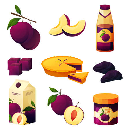 Food from plum, fruit products and sweets, juice