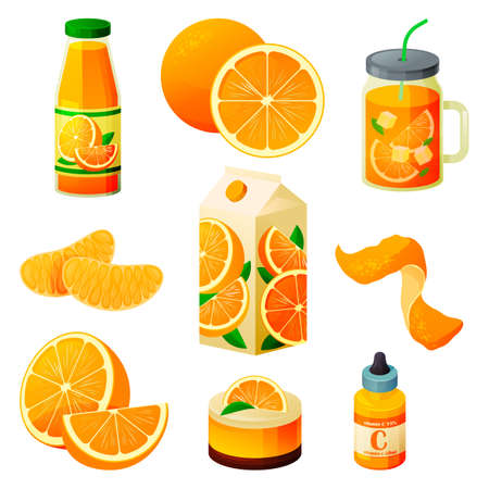 Food from orange, fruit drinks and sweet products 向量圖像