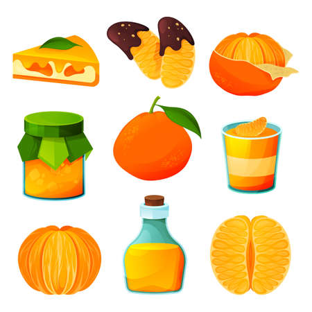 Food from tangerine, fruit sweet products, drinks 向量圖像