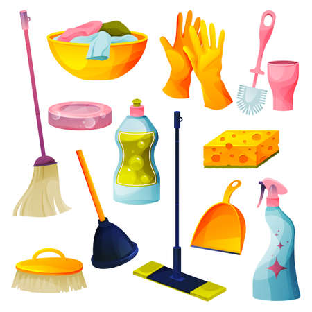 Set of home cleaning products, housekeeping icons 向量圖像