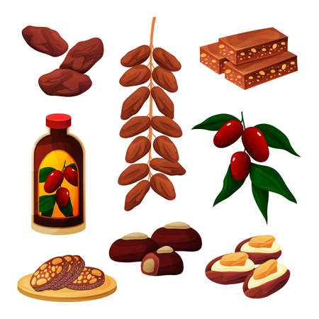 Set of dates fruits products, confectionery snacks