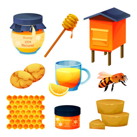 Set of honey products, beekeeping food, desserts